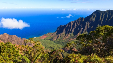 Photo pour Amazing view of the Kalalau Valley and the Na Pali coast in Kauai. - image libre de droit