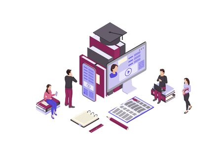 Online Education Isometric Color Vector Illustration Internet Distance Learning Infographic Video Tutorial E Course E Class Mobile Education E Learning Royalty Free Vector Graphics