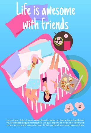Vektor für Sleepover party brochure template. Life with awesome with friends lettering. Girlfriends eat pizza. Girls night. Flyer, booklet, leaflet concept with flat illustration. Vector page layout for magazine - Lizenzfreies Bild