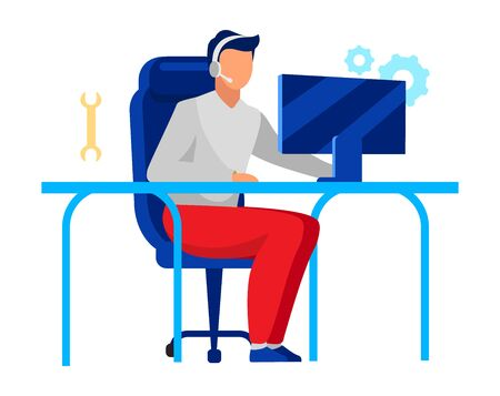 Illustration pour Technical support operator flat vector illustration. Company employee, technician isolated cartoon character on white background. Call center, IT department worker with headset, computer maintenance - image libre de droit