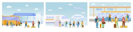 Ilustración de Traveling flat vector illustrations set. Bus stop, airport, railway station. Vacation trip. Journey with transfers. Voyage. People move on different modes of transport cartoon characters - Imagen libre de derechos