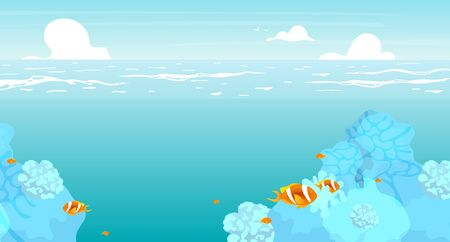 Illustration for Underwater flat flat vector illustration. Summer ocean, sea scenery backdrop design. Vacation resort, deep sea with reefs and tropical fish. Turquoise lagoon. Seascape cartoon background, wallpaper - Royalty Free Image