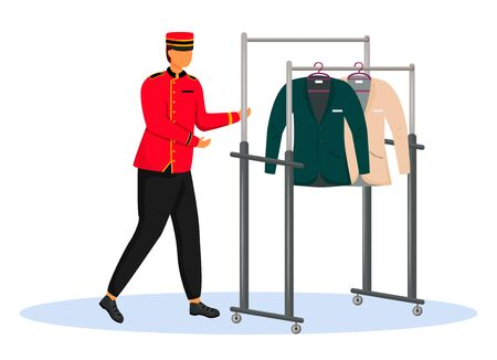 Illustration pour Porter in red uniform flat color vector illustration. Bellman carrying cart with clothes. Hotel staff with equipment, service worker. Bellhop isolated cartoon character on white background - image libre de droit