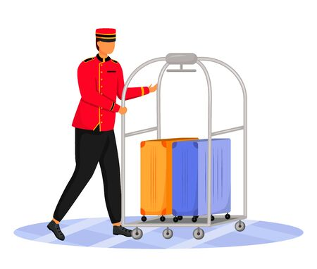 Illustration pour Bellman flat color vector illustration. Hotel clerk carrying baggage. Porter in uniform. Service staff with luggage cart and suitcases isolated cartoon character on white background - image libre de droit