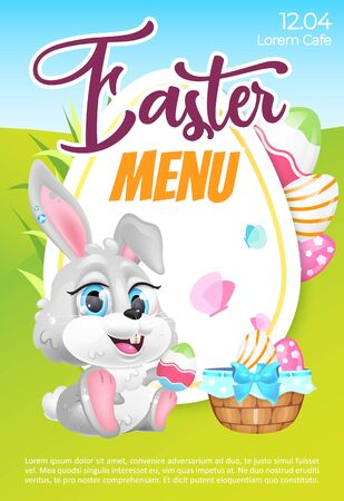 Illustration for Easter menu poster flat vector template. Pascha brunch invitation. Brochure, booklet one page concept design with bunny and eggs kawaii cartoon characters. Spring holiday rabbit. Flyer, leaflet - Royalty Free Image