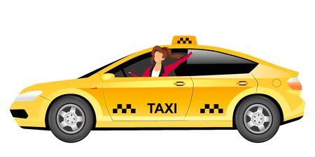 Female taxi driver flat color vector faceless character. Smiling woman driving yellow cab isolated cartoon illustration for web graphic design and animation. Urban public transport