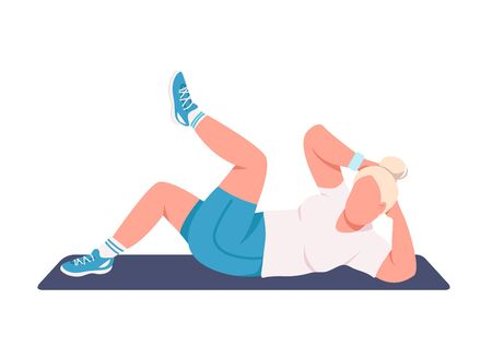 Illustration pour Sportswoman doing crunches flat color vector faceless character. Fitness instructor working out isolated cartoon illustration for web graphic design and animation. Abdominal muscle training at home - image libre de droit