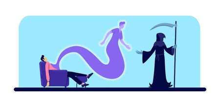 Dead man and grim reaper flat color vector illustration. Guy passed away. Male body and soul at home. Afterlife concept. Ghost and Death 2D cartoon characters on blue background