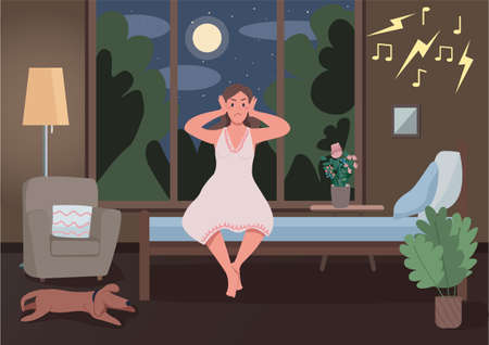 Illustration pour Noisy neighbors flat color vector illustration. Insomnia because of party next door. Annoyed girl cover ears. Awake upset lady. Angry sleepless woman 2D cartoon characters with interior on background - image libre de droit