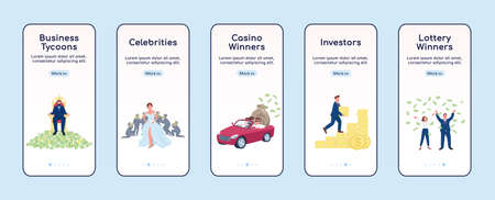 Rich people onboarding mobile app screen flat vector template. Tycoons and lottery winners. Walkthrough website steps with characters. UX, UI, GUI smartphone cartoon interface, case prints set