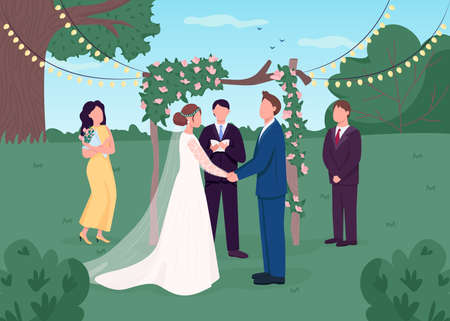 Foto für Rural wedding ceremony flat color vector illustration. Marriage celebration. Floral arch for service. Bridesmaid and best man. Bride and groom 2D cartoon characters with backyard on background - Lizenzfreies Bild