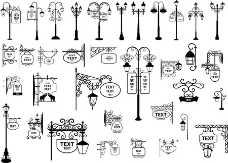 illustration of retro and modern street signs and lanterns