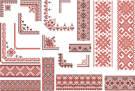 Illustration pour Set of editable ethnic patterns for embroidery stitch in red and black. Borders and corners. - image libre de droit