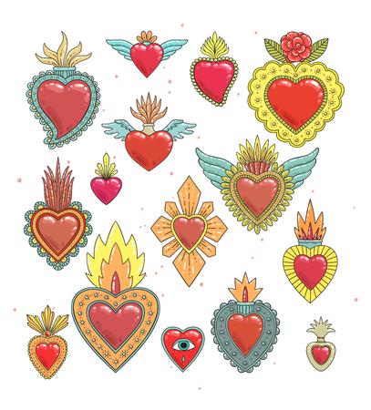 Ilustración de Sacred mexican heart color set - Imagen libre de derechos