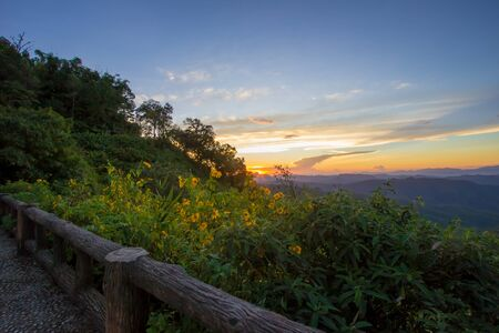 Impressive scenery during sunset from Kiew Lom viewpoint,Pang Mapa districts,Mae Hong Son,Northern Thailand.
