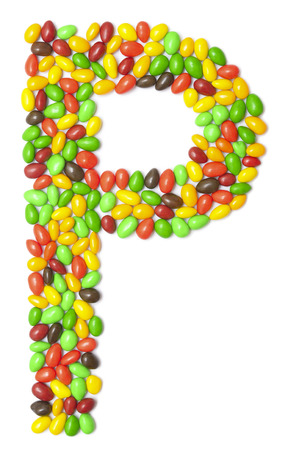 multicolored chocolate letter P isolated on white