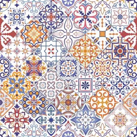 Illustration pour Vector seamless tiles background in portuguese, spanish, italian style. For wallpaper, backgrounds, decoration for your design, ceramic, page fill and more. - image libre de droit