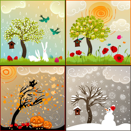 Four seasons set with tree, birdhouse, birds, pumpkin lanterns and snowman
