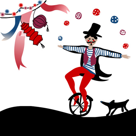 young acrobat juggling on a unicycle followed by his dog under party decoration
