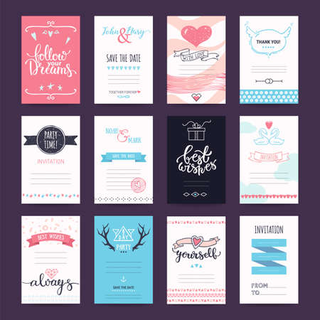 Illustration pour Wedding, Valentines day, birthday party, anniversary, invitation, greeting cards. Design templates with hand drawn illustrations, lettering. Pastel colored vector collection isolated on background. - image libre de droit