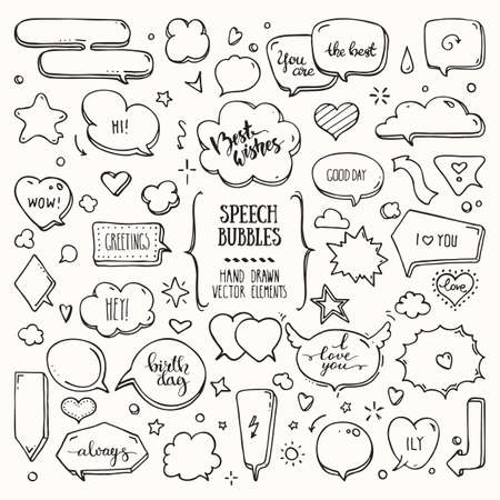 Illustration for Think, talk speech bubbles with love messages, birthday congratulations, greetings. Hand drawn doodle style comic balloon, cloud, heart shaped design elements. Isolated vector set on white background. - Royalty Free Image