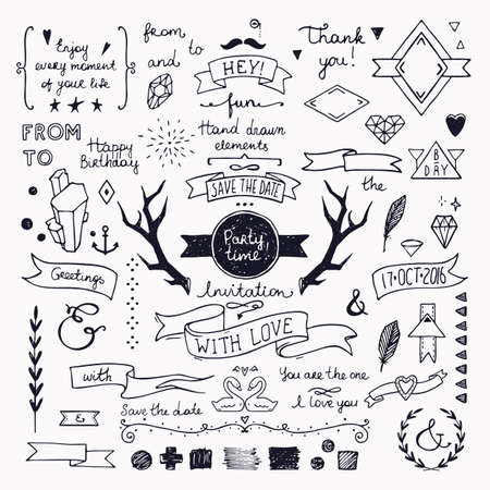 Illustration for Hand drawn hipster doodle collection for wedding invitations, birthday, greeting cards design. Frames, deer horns, ribbons, arrows, branches and other festive attributes. Isolated on white background. - Royalty Free Image