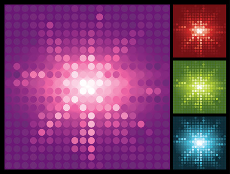 abstract lights background with halftone sunburst, vector illustration
