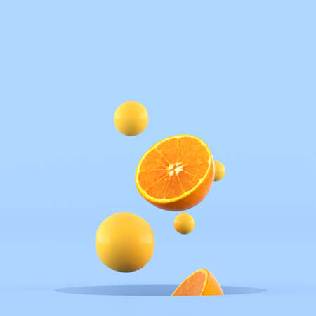 Photo for Minimal conceptual idea of sliced oranges and small yellow sphere floating out from hole on blue background. 3D rendering. - Royalty Free Image