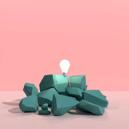 Photo for Minimal abstract of floating light bulb above the cracked rock on color background 3D rendering. - Royalty Free Image