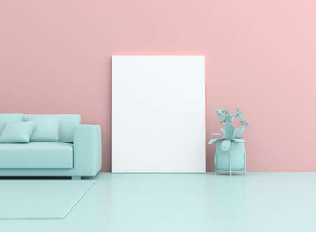 Photo pour 3d surreal render of white blank canvas and sofa on pastel background. Mock up scene. - image libre de droit