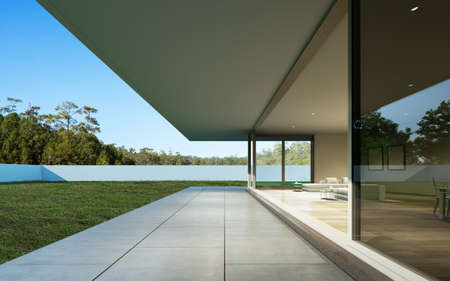 Photo for 3D render of white modern house with swimming pool on nature background, Exterior with large window design. - Royalty Free Image
