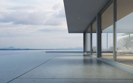 Photo for Perspective of modern house with swimming pool on sea background, Exterior. 3d rendering - Royalty Free Image
