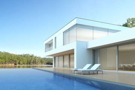 Photo for 3D render of white modern house with swimming pool on lake background, Exterior with large window design. - Royalty Free Image