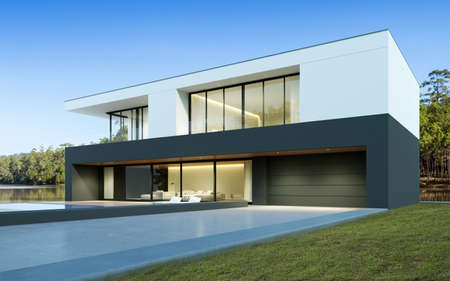 Photo pour Perspective of black and white modern luxury house with green lawn yard on tree background, Idea of minimal architecture with garage door. 3D rendering - image libre de droit
