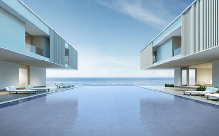 Photo pour Perspective of modern house with swimming pool on sea background, Exterior. 3d rendering - image libre de droit