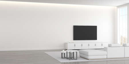 Photo pour 3D rendering of modern living room with TV screen and sofa. - image libre de droit