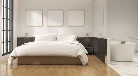 Photo pour 3D rendering of modern bedroom with blank picture frame on wall. - image libre de droit