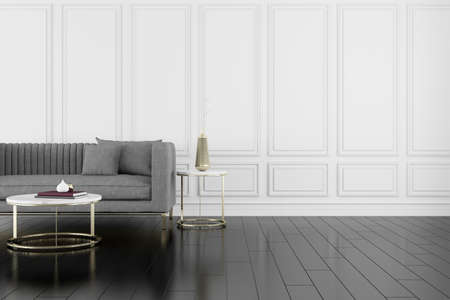 Photo for 3D render of room with wooden floor and classic wall with sofa. - Royalty Free Image