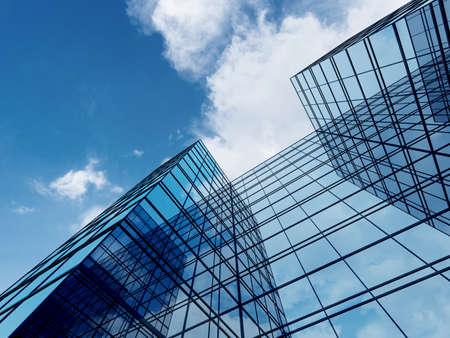 Photo pour 3D render of futuristic architecture, Skyscraper building with glass window. - image libre de droit