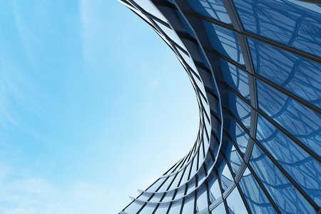 Foto de 3D render of futuristic architecture, Skyscraper building with curve glass window. - Imagen libre de derechos