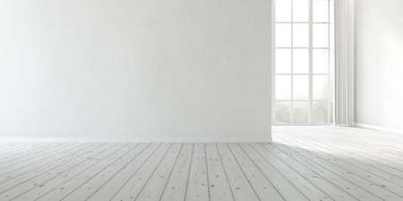 Photo pour 3d rendering of modern empty room with large plain wall and wooden floor. - image libre de droit