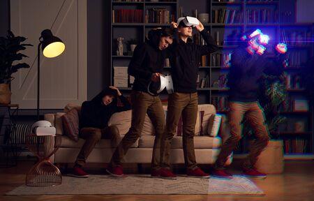 Photo pour Man wearing virtual reality headset. Image with glitch effect - image libre de droit