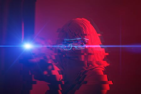 Photo pour Girl with blaster in the futuristic battle. Image with glitch effect. - image libre de droit
