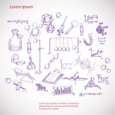 set hand drawn science symbols
