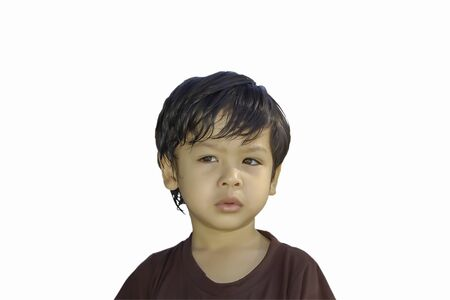 Photo pour Isolated portrait asian boy wearing a brown, isolated on white background. - image libre de droit