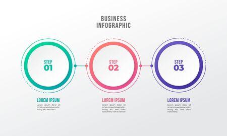 Illustration pour timeline infographic design element 3 step circle shape number options - image libre de droit