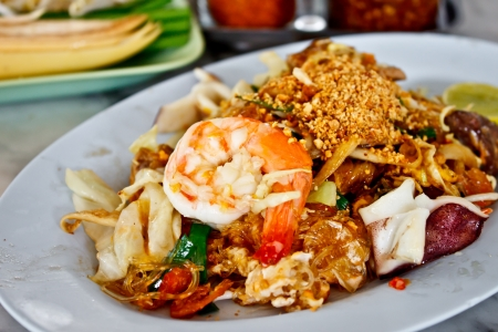 fried noodle with seafood or Padthai, the famous Thai food