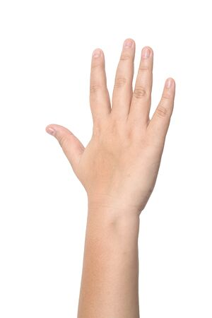 Photo pour Child hand showing the five fingers isolated on a white background - image libre de droit