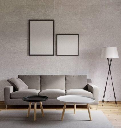 Photo pour 3D rendering Loft style living room with raw concrete ,wooden floor,big window - image libre de droit