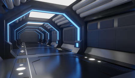 Photo pour 3D rendering Spaceship black interior with blue light,tunnel,big corridor, futuristic - image libre de droit